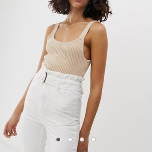 Asos Native Youth knitted cami top beige XS